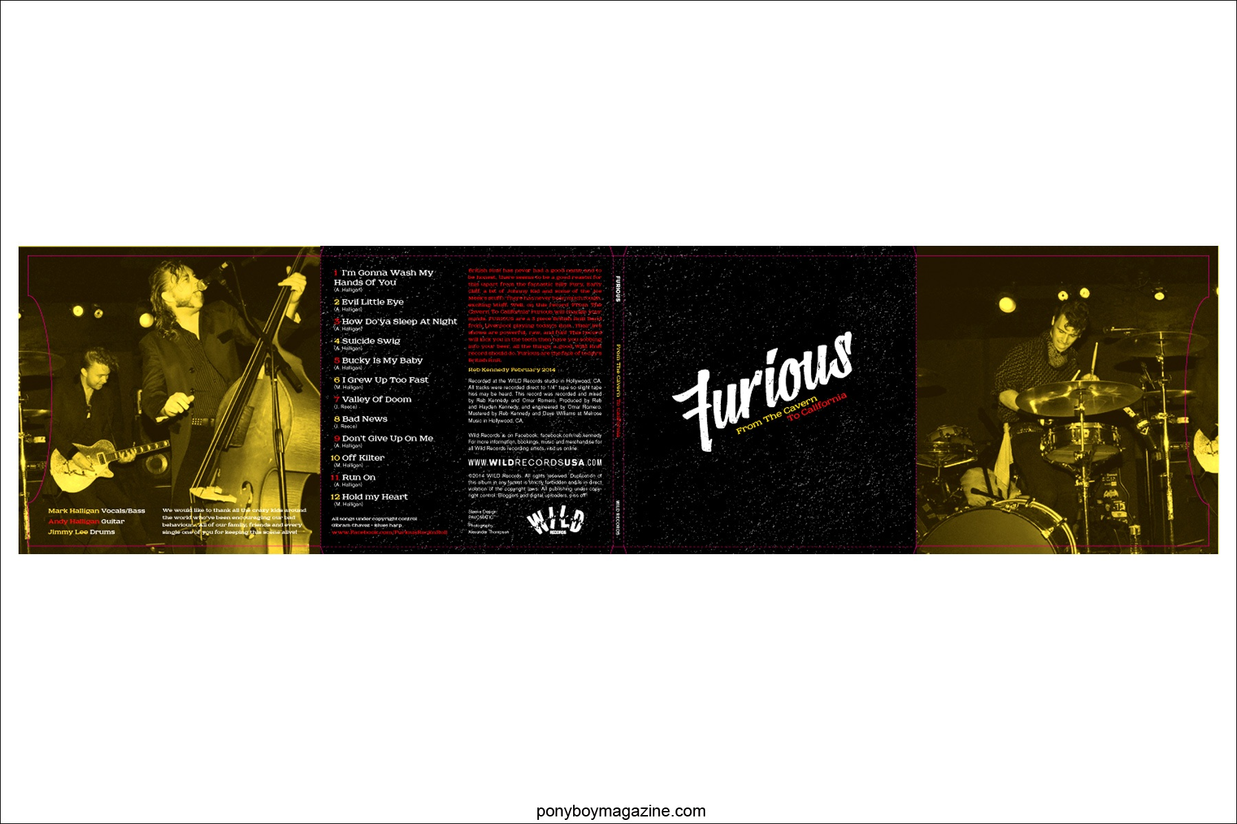 Furious band CD artwork on Wild Records, photographed by Alexander Thompson. Ponyboy Magazine.