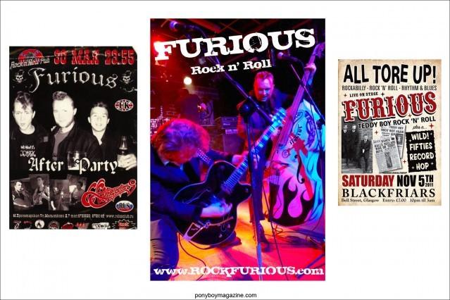 Assorted flyers of teddyboy band Furious. Ponyboy Magazine.