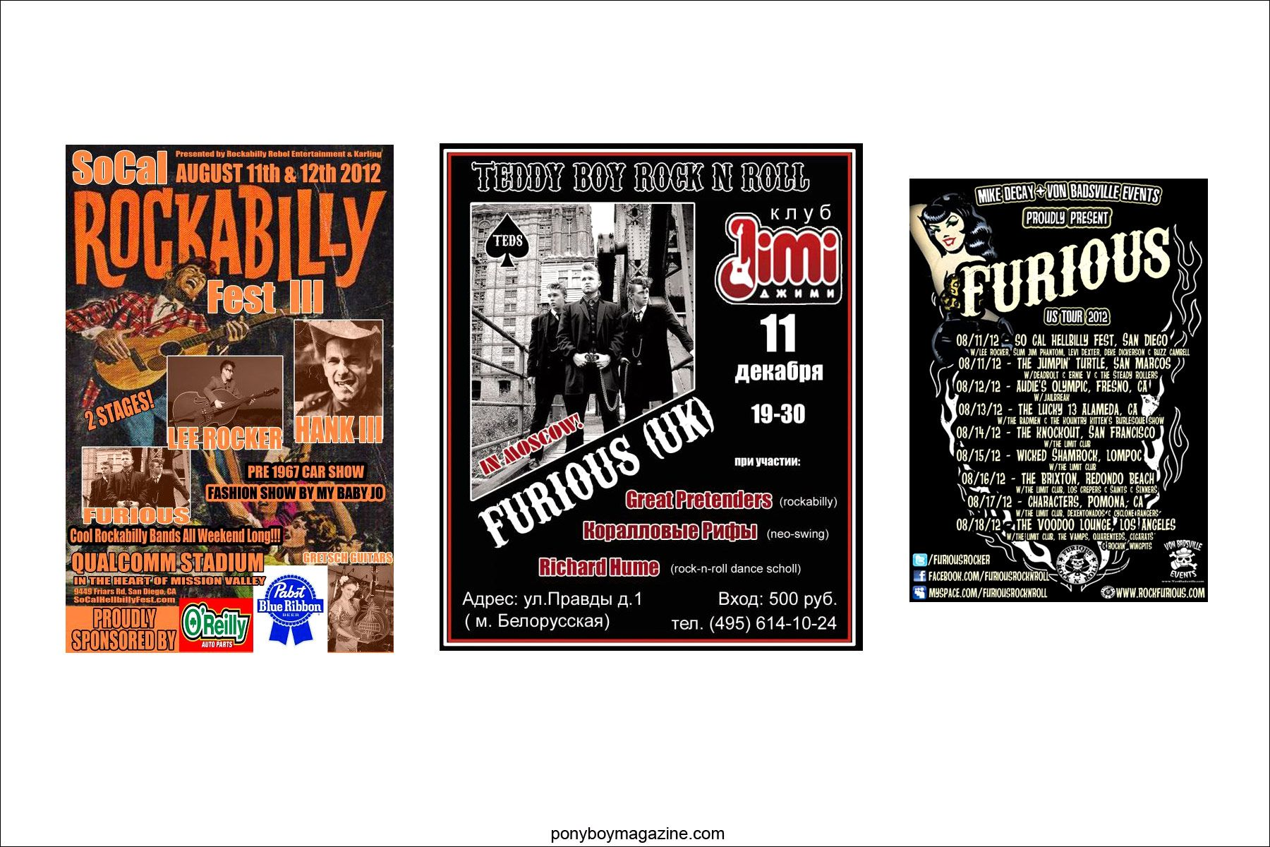 Assorted flyers for UK teddy boy band Furious. Ponyboy Magazine.