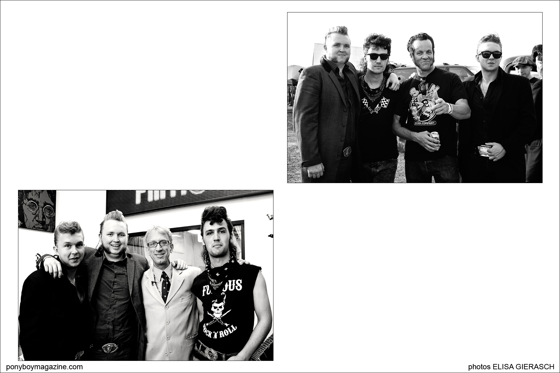 Photos by Elisa Gierasch of teddy boy band Furious, while touring in California. Ponyboy Magazine.