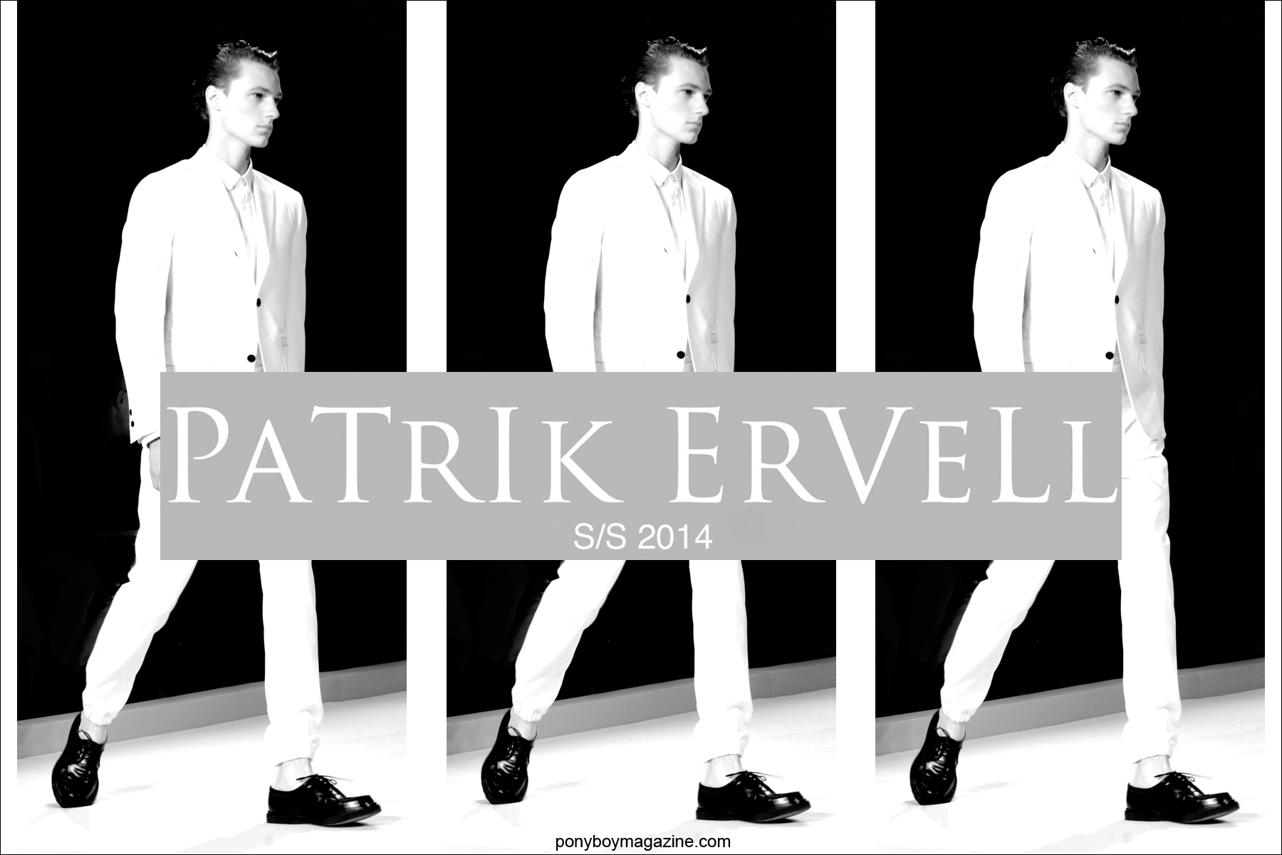 Patrick Ervell Spring Summer 2014 opener for Ponyboy Magazine, photographed by Alexander Thompson.