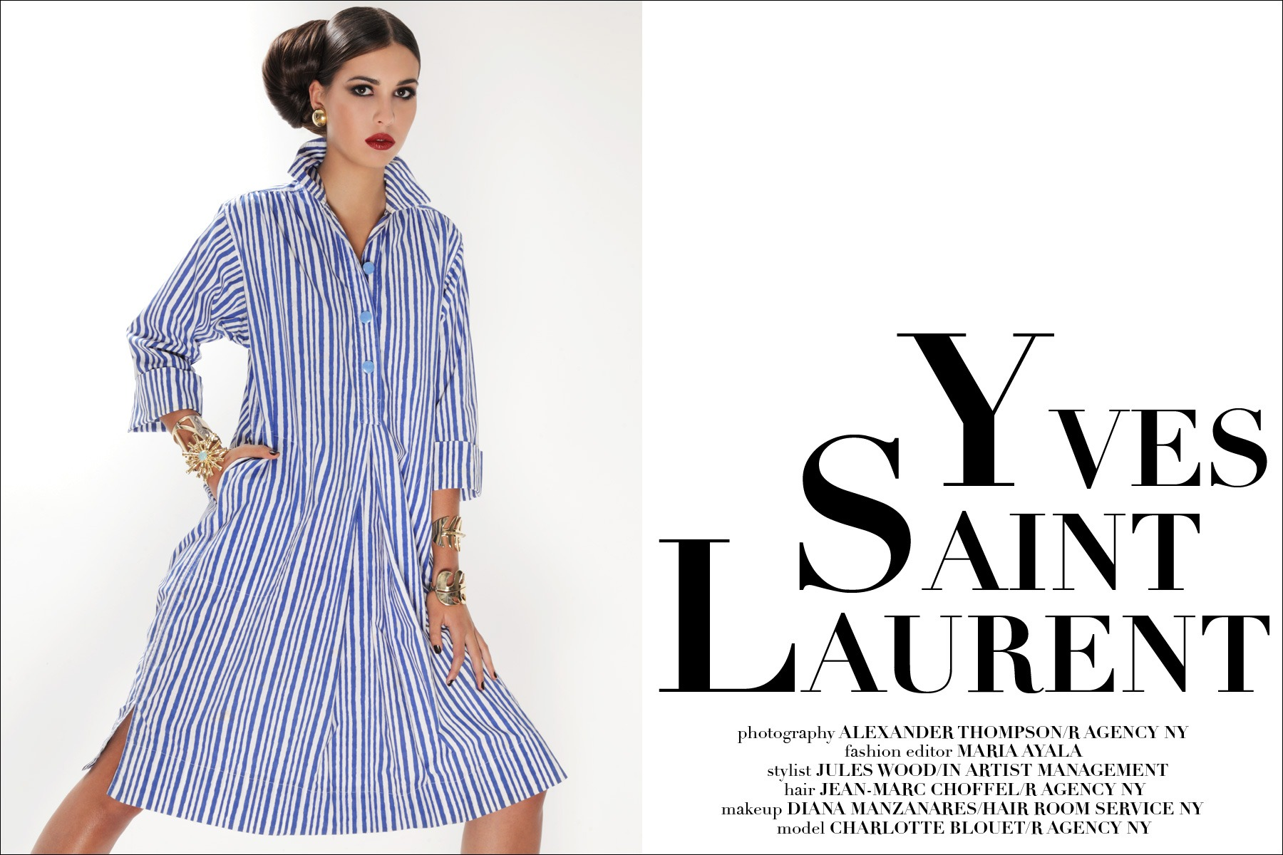 French model Charlotte Blouet photographed in vintage YSL by Alexander Thompson for Ponyboy Magazine in New York City.