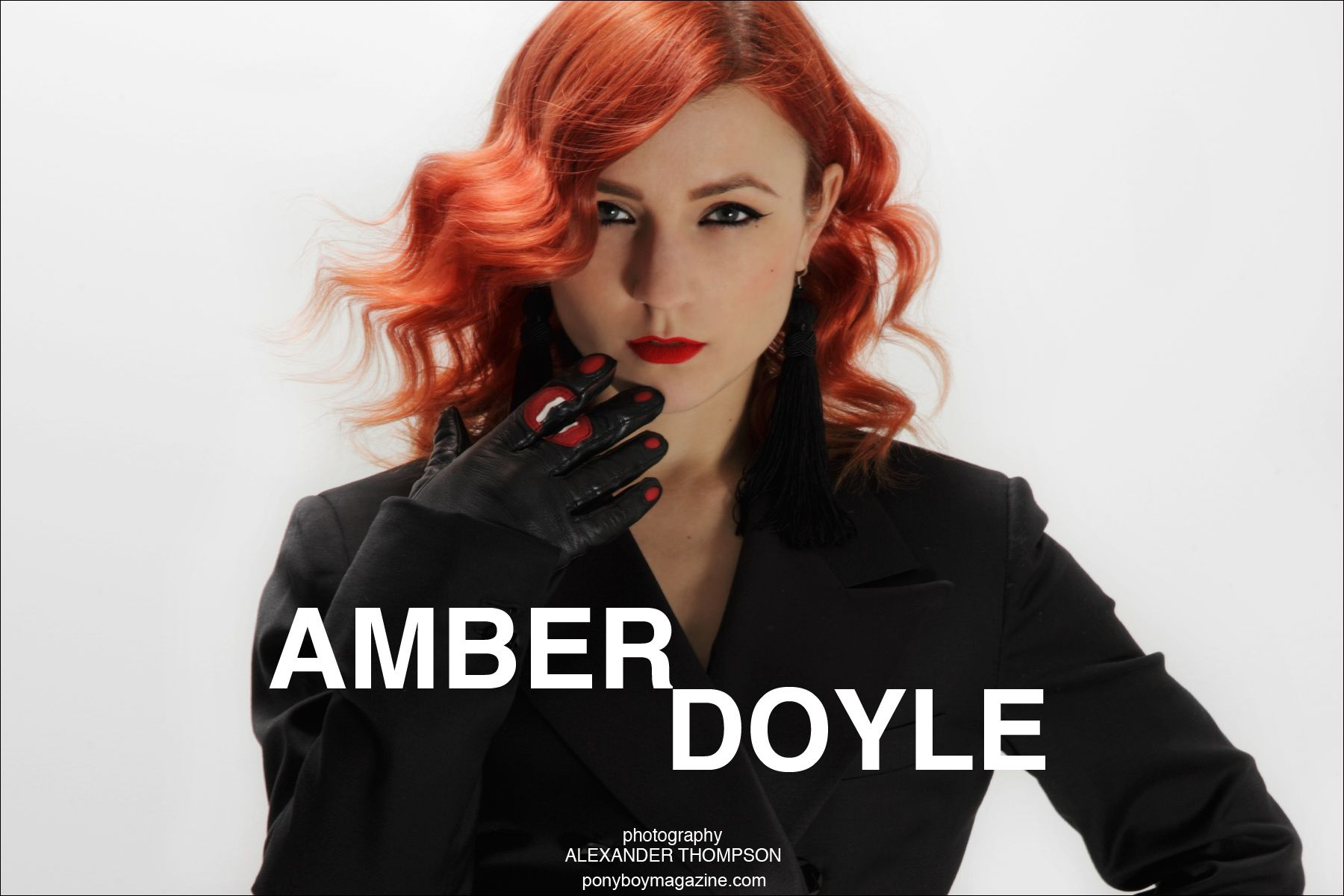 Opening spread of Amber Doyle profile for Ponyboy Magazine, photographed by Alexander Thompson.
