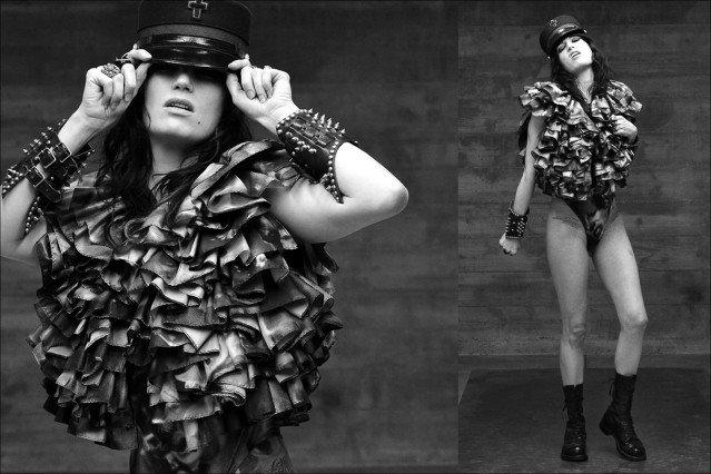 "A model wears Katy Rodriguez ""Porno"" print collection, available at Resurrection NY/LA, Ponyboy Magazine."