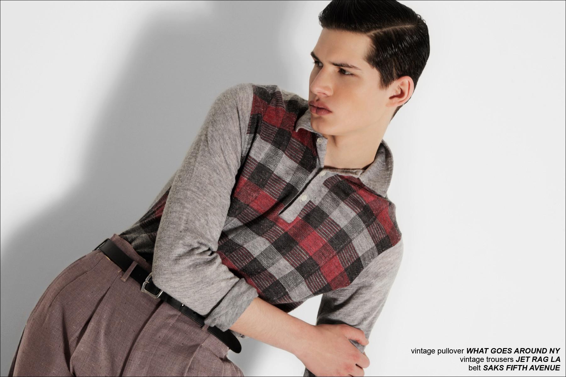 Fusion model Ben Stift photographed by Alexander Thompson for Ponyboy Magazine vintage men's editorial.
