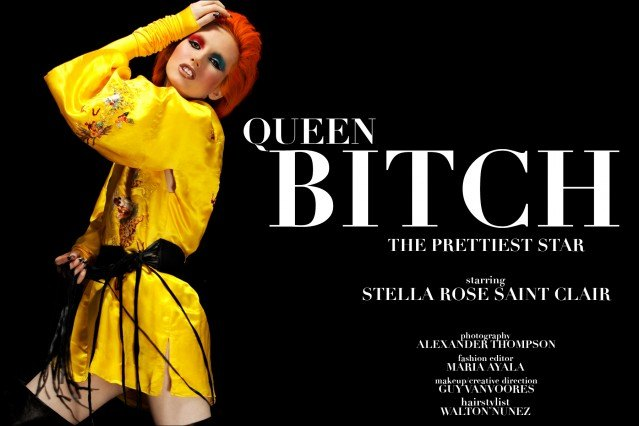 "Stella Rose Saint Clair stars in Ponyboy Magazine's editorial ""Queen Bitch"", an homage to the glam/glitter rock style of Angela and David Bowie. Photographed in New York City by Alexander Thompson."