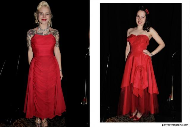 Red 1950's evening wear photographed on young rockabilly girls at Viva Las Vegas by Alexander Thompson for Ponyboy Magazine.