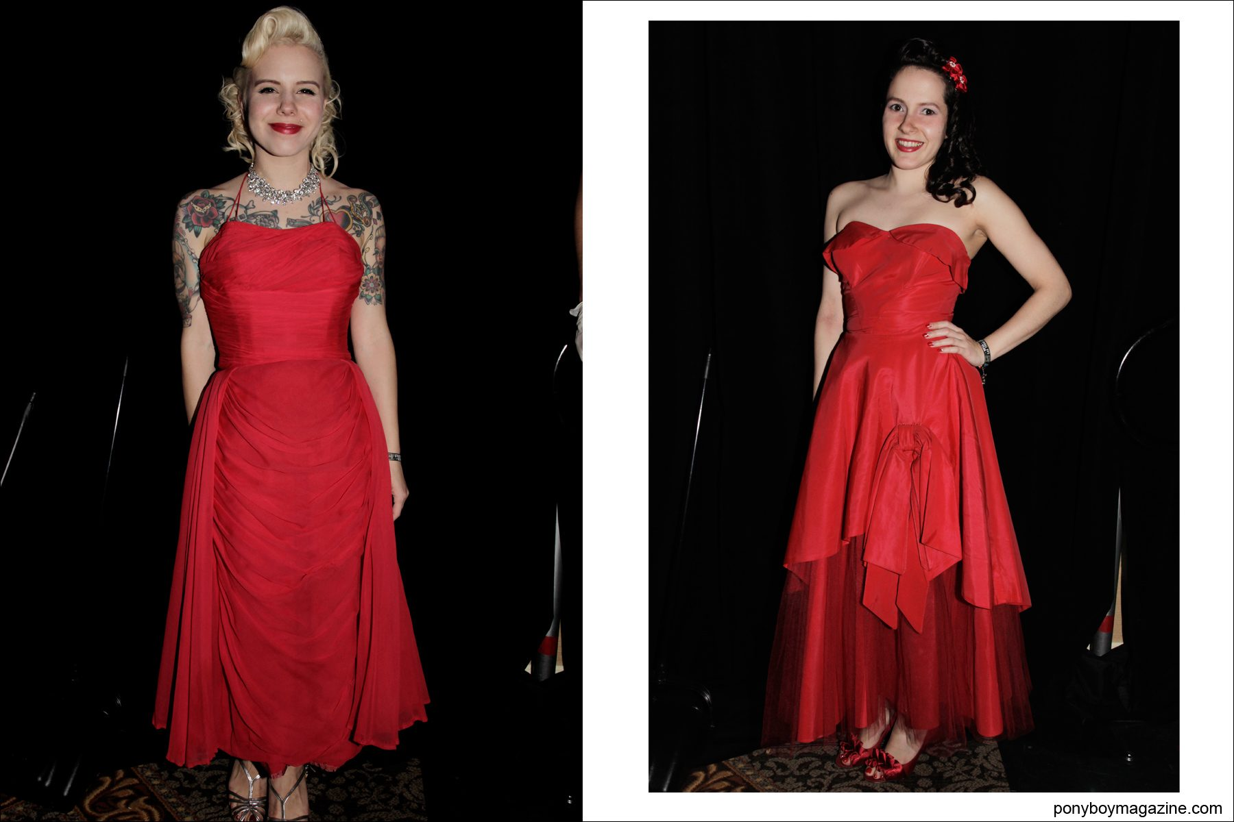 1950's red vintage gowns photographed on young women by Alexander Thompson for Ponyboy Magazine at Tom Ingram's Viva Las Vegas 17 weekender.
