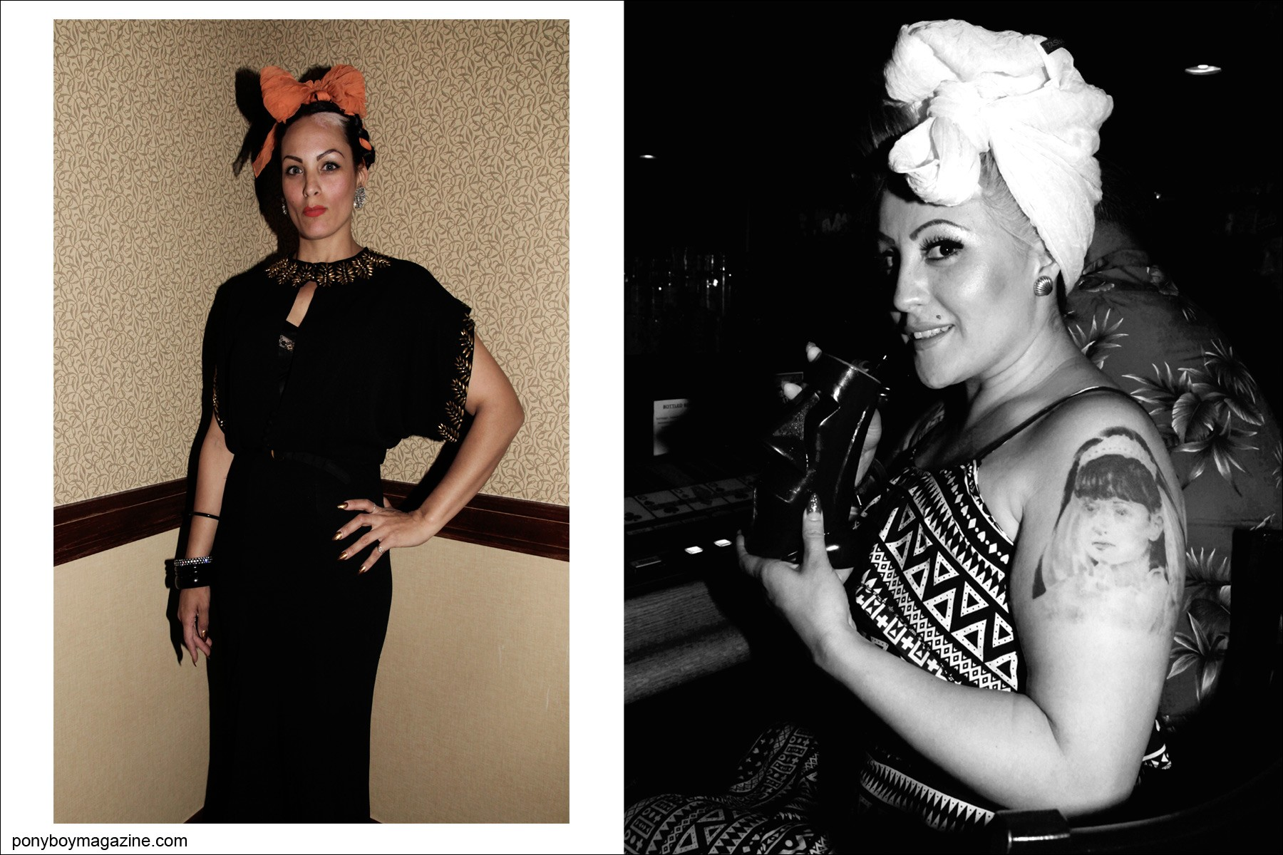 Vintage style women in 1950's head wraps photographed by Alexander Thompson for Ponyboy Magazine at the Viva Las Vegas rockabilly weekender.