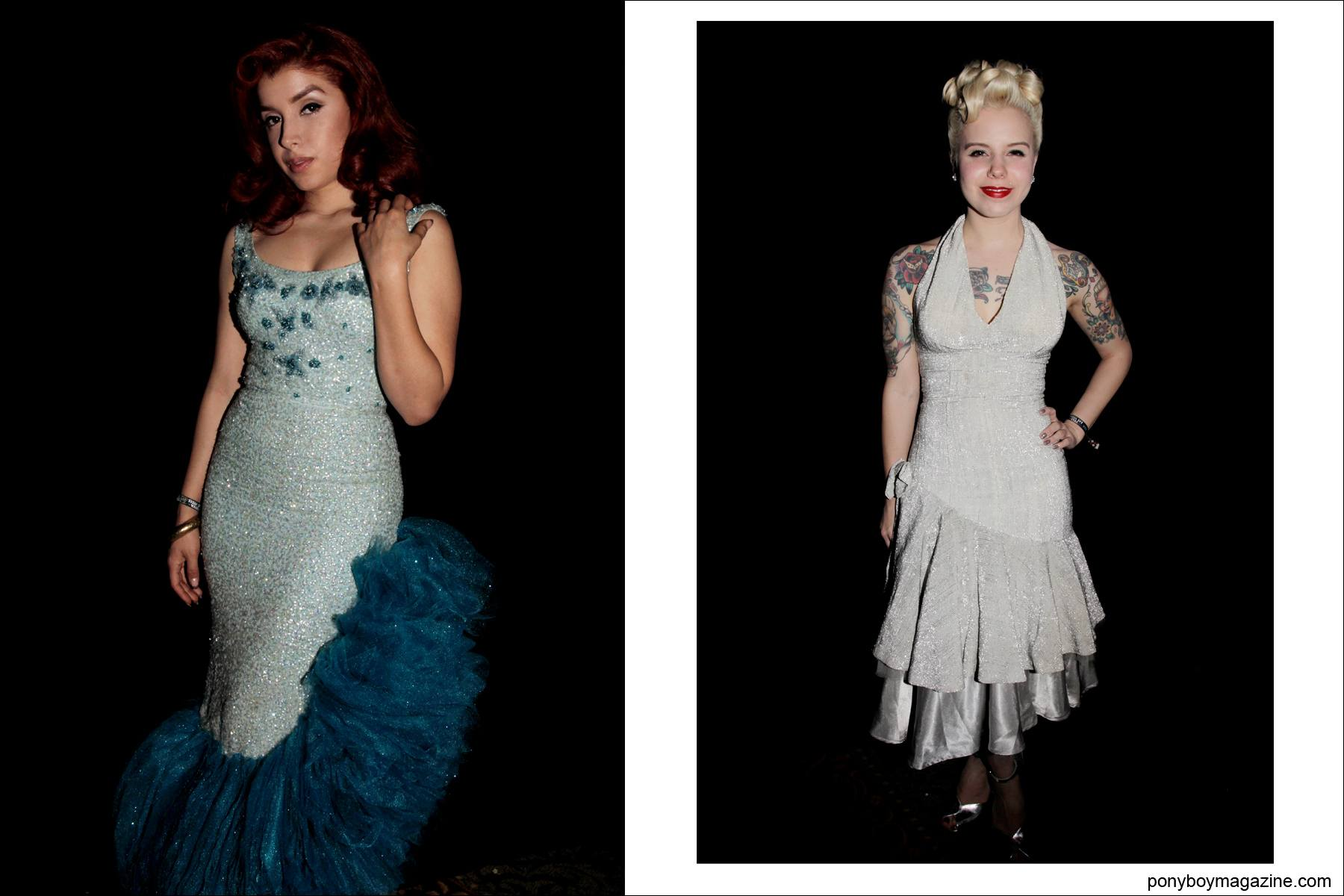 Vintage 1950's women's evening dresses photographed at Tom Ingram's Viva Las Vegas rockabilly weekender. Images by Ponyboy Magazine photographer Alexander Thompson.