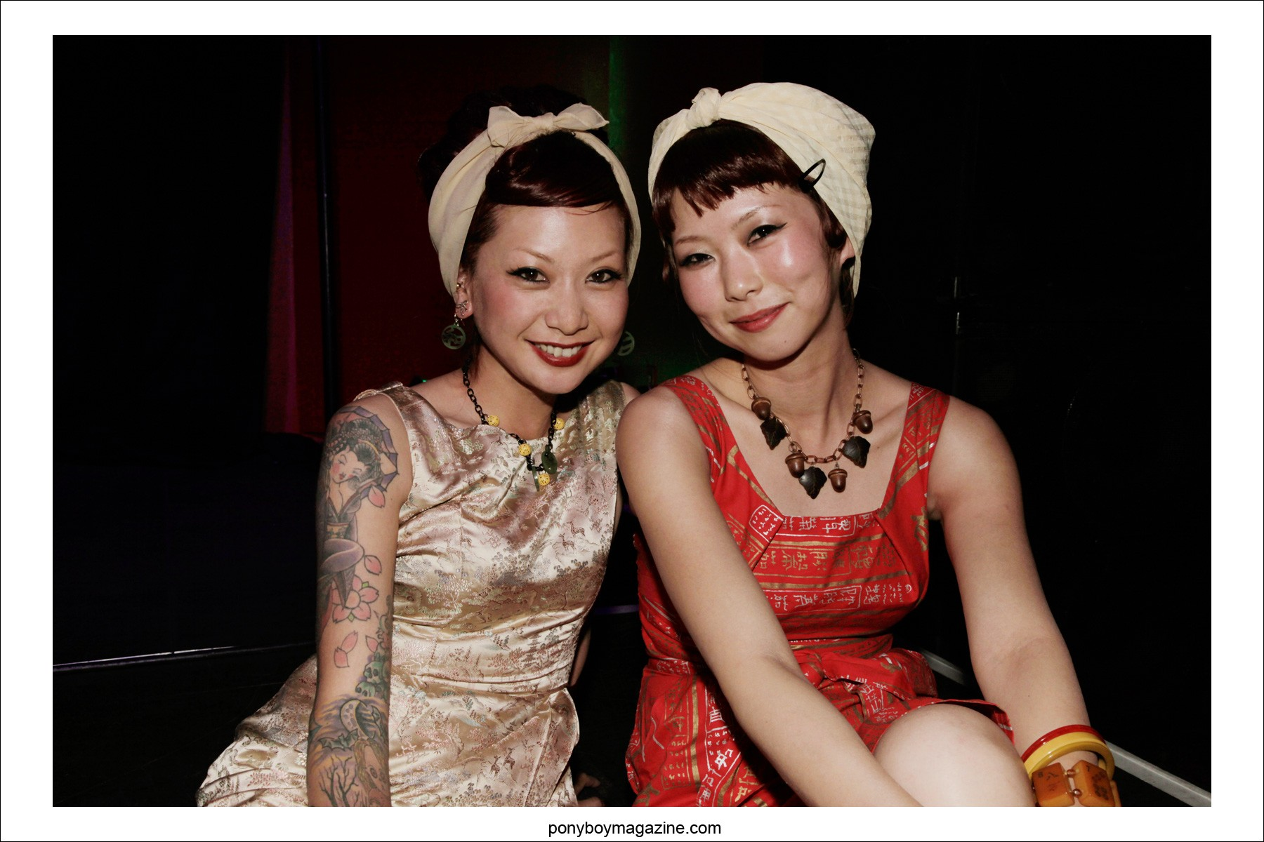 Young Japanese ladies photographed in vintage 1950s fashions for Ponyboy Magazine at Viva Las Vegas rockabilly weekender by Alexander Thompson.