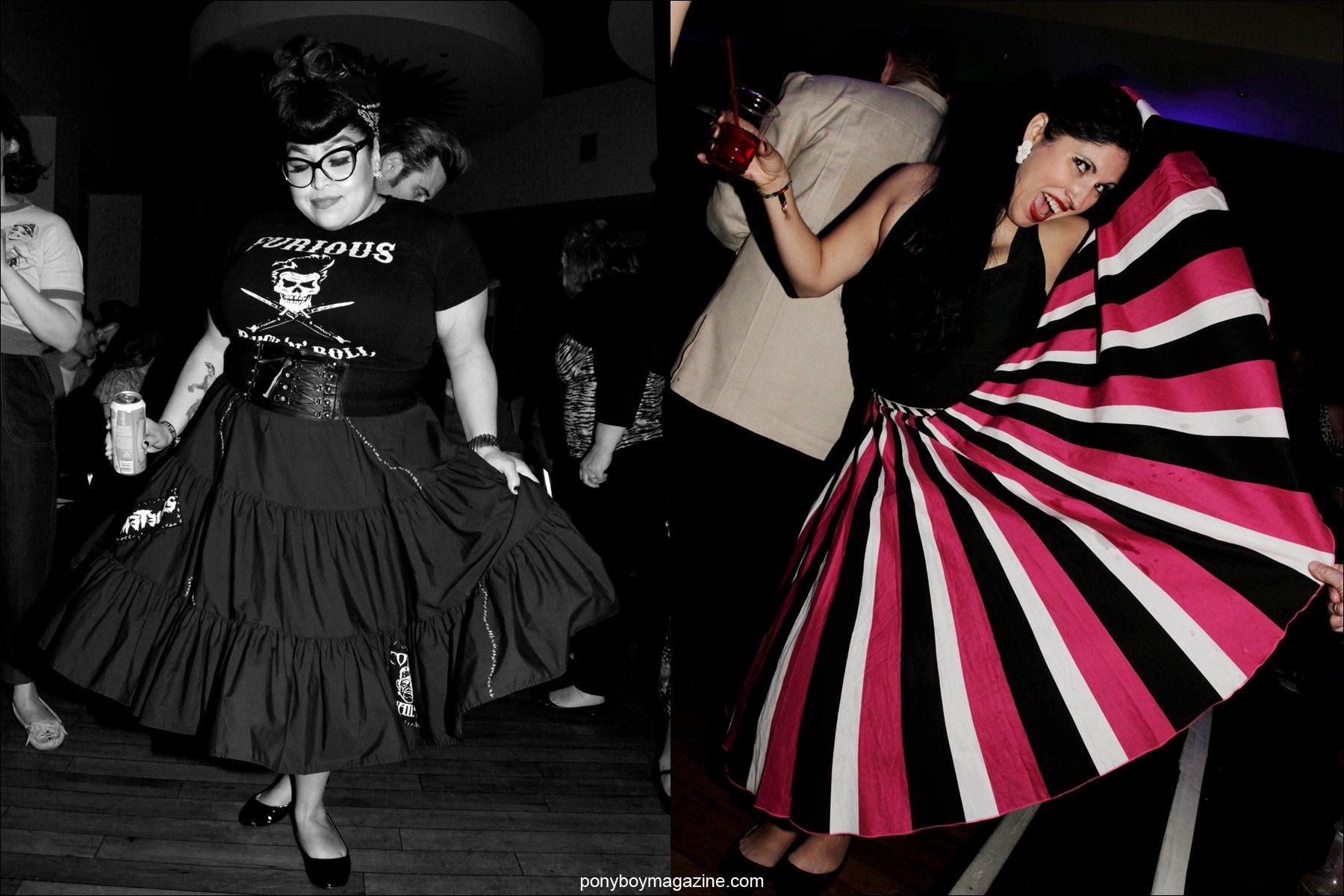Women in full skirted 1950's fashions, photographed on the dance floor at Tom Ingram's rockabilly weekender Viva Las Vegas. Images by Ponyboy Magazine photographer Alexander Thompson.