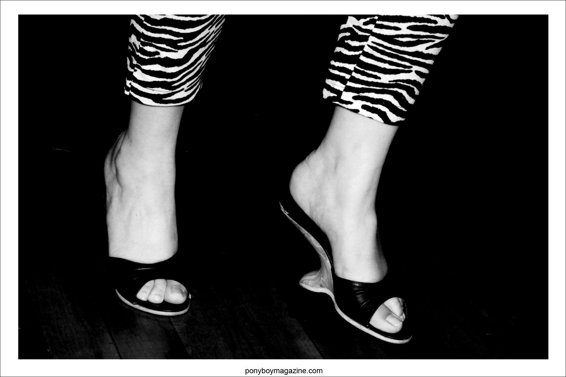 Stylish vintage 1950's boomerang high heels photographed on the dance floor at Tom Ingram's Viva Las Vegas 17 rockabilly weekender.
