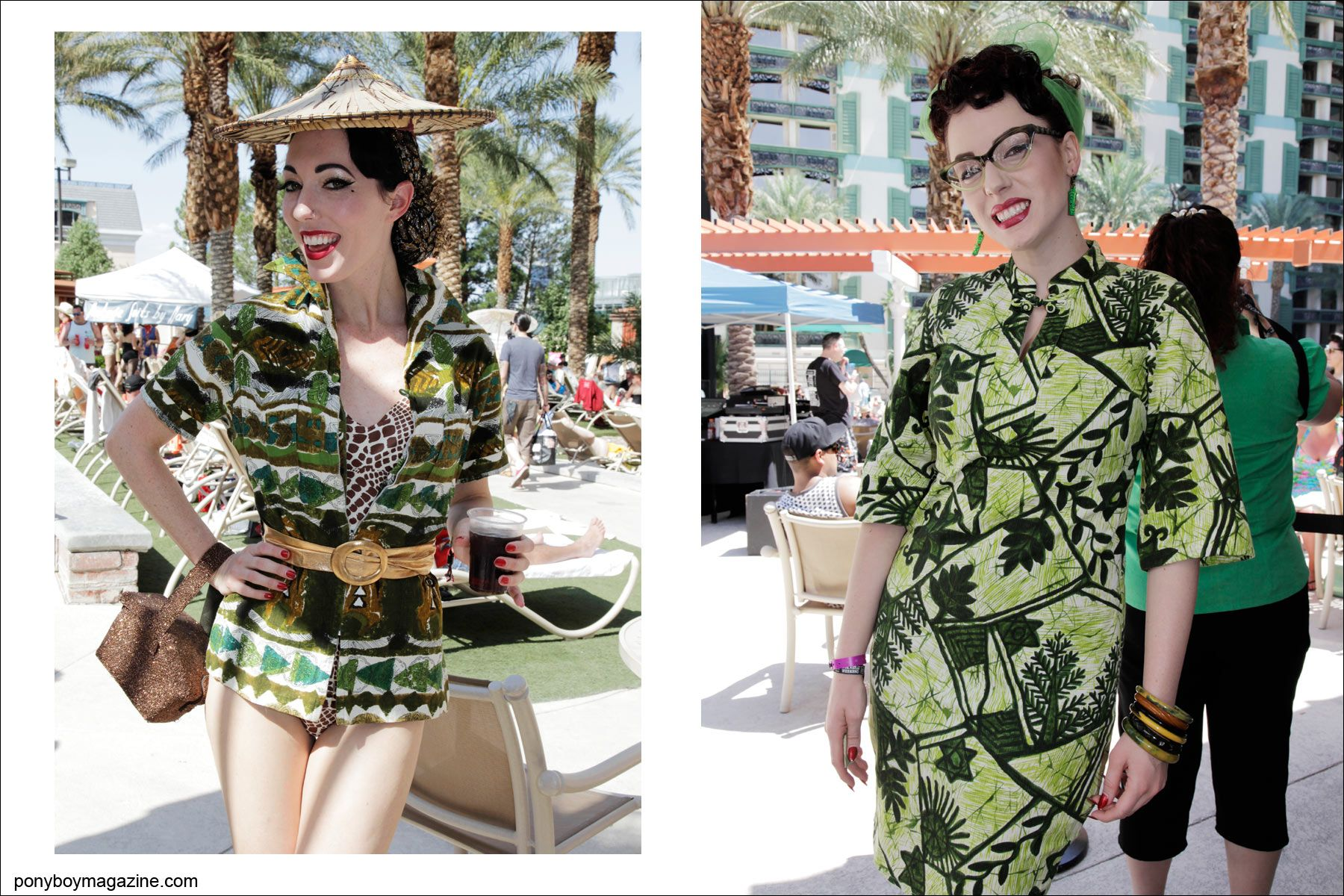 1950's style women's vintage pool cover-ups, photographed at rockabilly weekender Viva Las Vegas 17 by Alexander Thompson for Ponyboy Magazine.