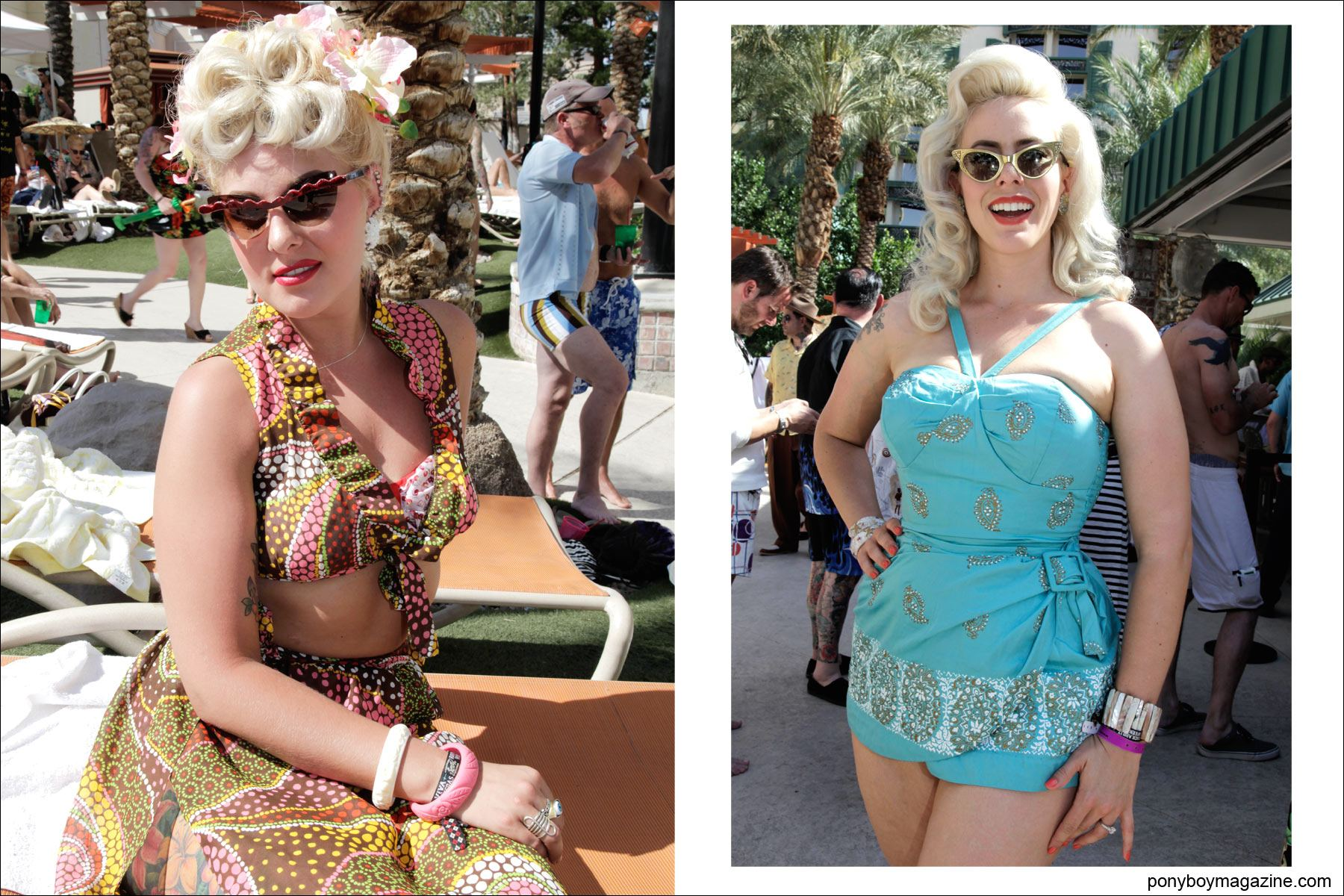 Beautiful blonds by the pool in vintage 1950's swimsuits, photographed by Alexander Thompson for Ponyboy Magazine at Viva Las Vegas rockabilly weekender.
