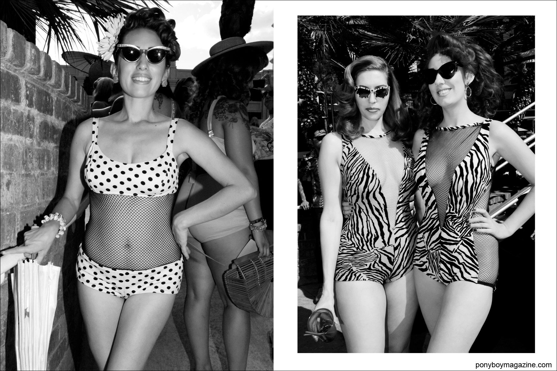 Vintage 1950's exotic women's swimwear photographed by Ponyboy Magazine photographer Alexander Thompson at Viva Las Vegas rockabilly pool party.