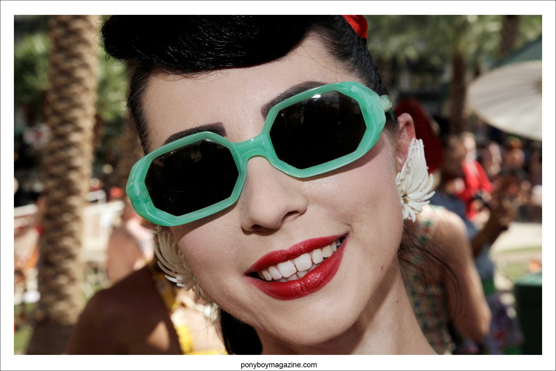 Vintage 1950's sunglasses photographed by Ponyboy Magazine photographer Alexander Thompson at Viva Las Vegas pool party.