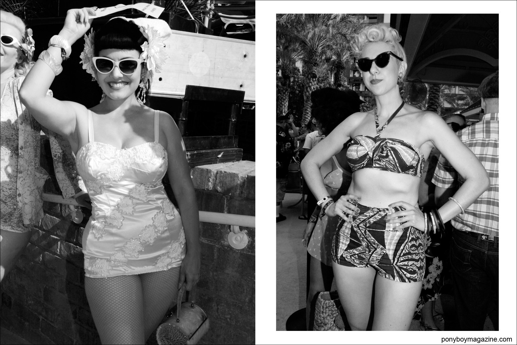 Vintage 50's women's swimsuits photographed by Ponyboy Magazine photographer Alexander Thompson at Viva Las Vegas pool party.
