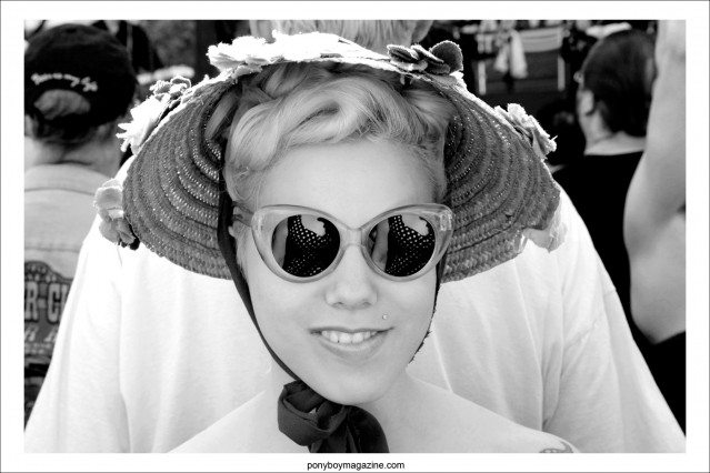 Katie Bickert, a1950's rockabilly style girl, photographed in a vintage hat by Alexander Thompson for Ponyboy Magazine, at Viva Las Vegas 17 weekender.