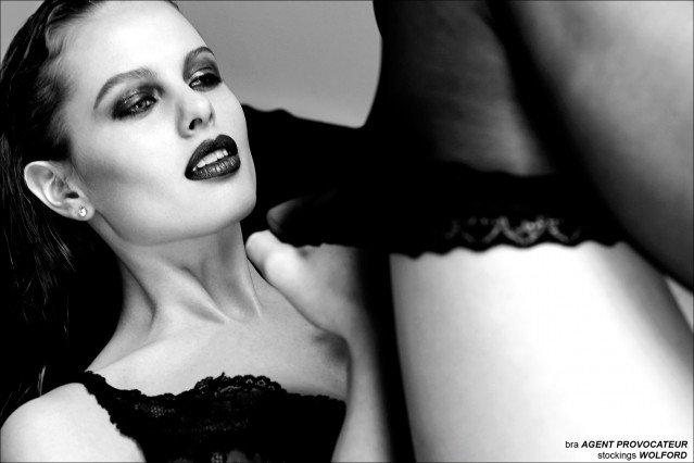 Claudia from M + P Models London, photographed by JC Verona for Ponyboy Magazine Helmut Newton inspired editorial.