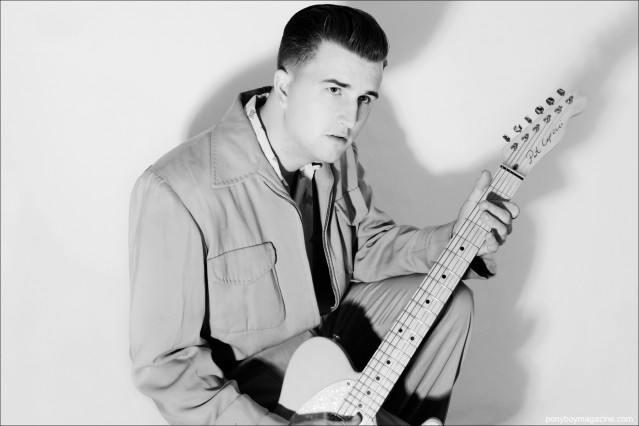 Josh Sorheim, rockabilly musician with Wild Records, photographed for Ponyboy Magazine by Alexander Thompson.