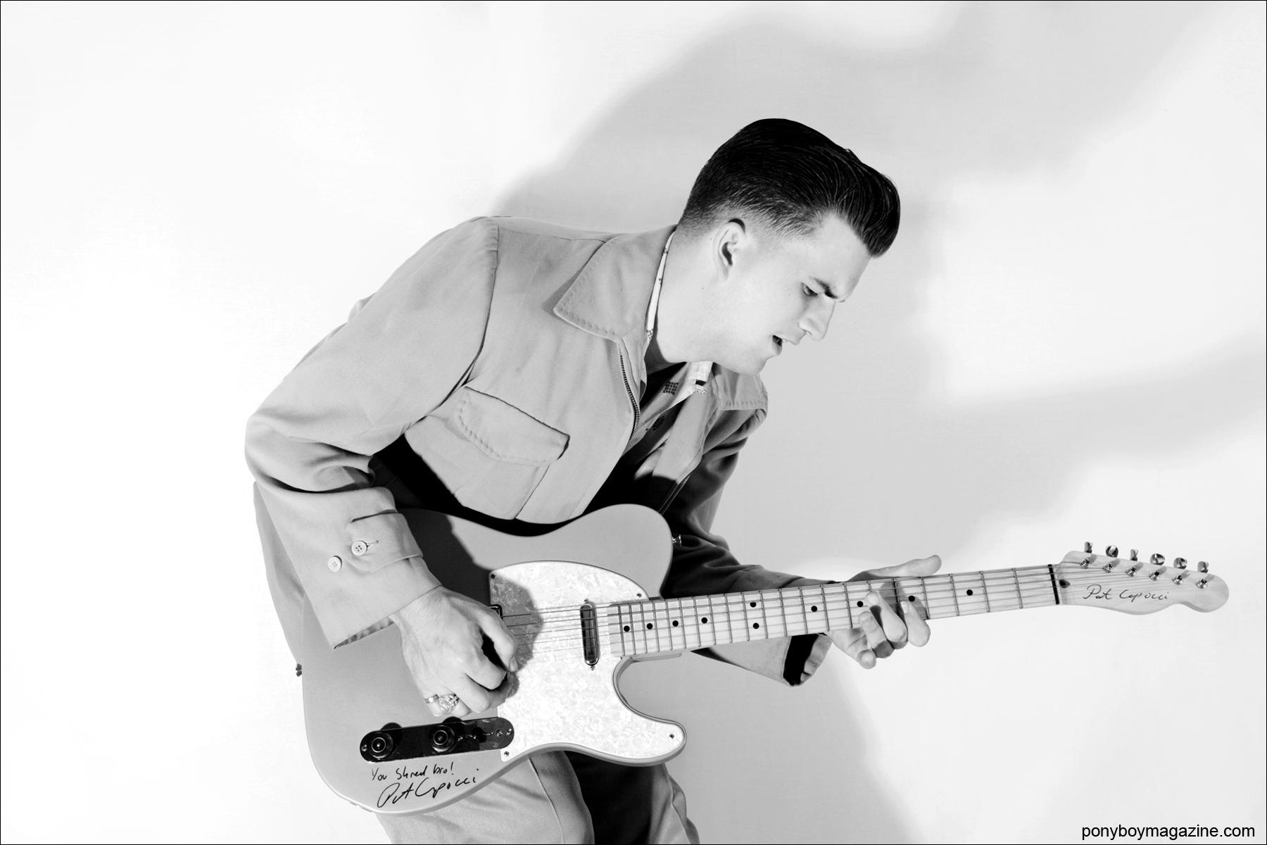 Rockabilly musician Josh Hi-Fil Sorheim photographed by Alexander Thompson for Ponyboy Magazine.