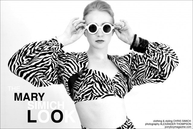 Mary Simich for Ponyboy Magazine. Clothing and styling by Chris Simich. Photographed by Alexander Thompson.