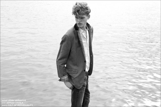 """Reid Rohling wearing John Varvatos for Ponyboy Magazine men's editorial """"On The Waterfront"""". Photographed by Alexander Thompson, with styling by Jules Wood."""