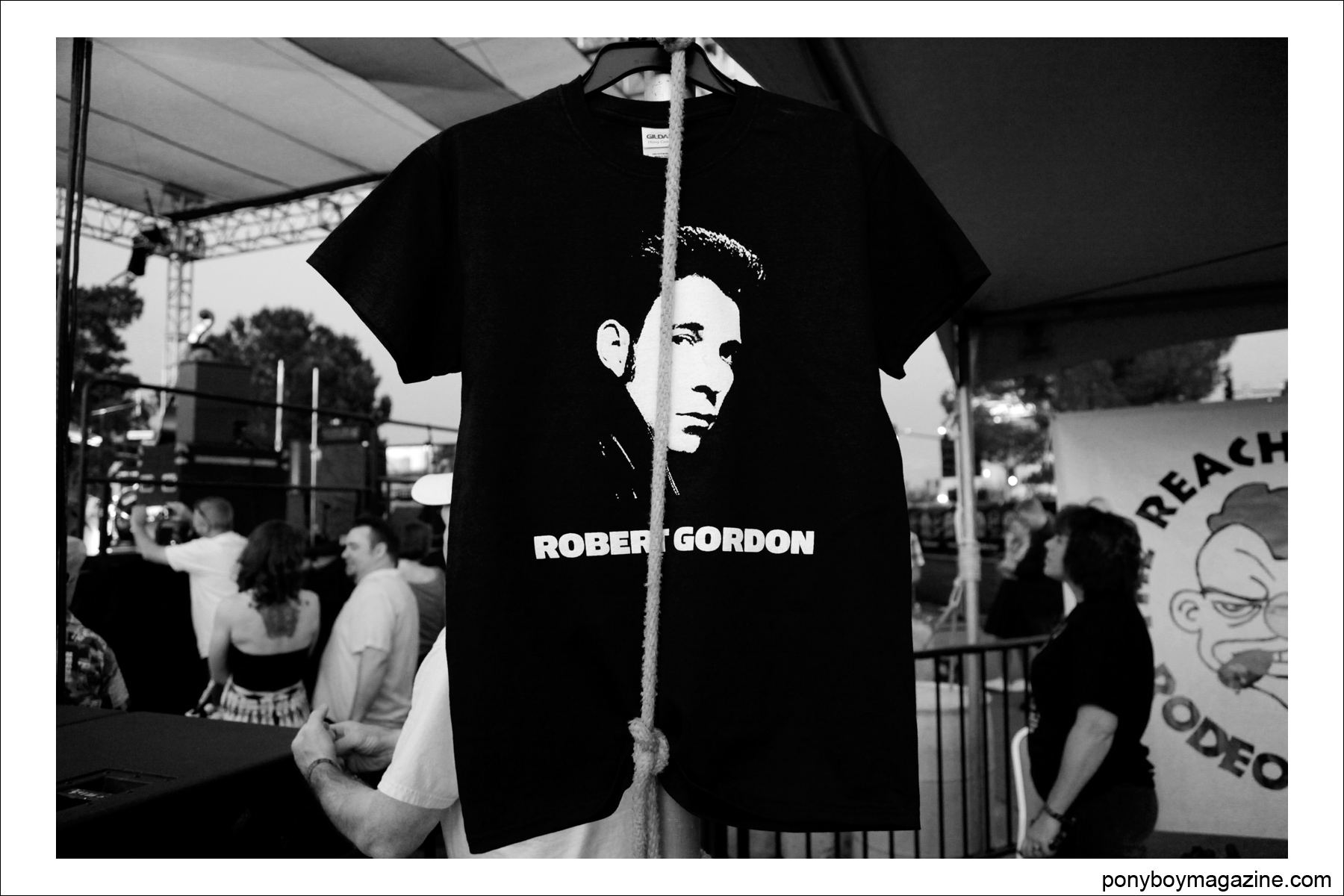 A t-shirt of rockabilly legend Robert Gordon. Photographed at Tom Ingram's Viva Las Vegas 17 car show by Alexander Thompson for Ponyboy Magazine.