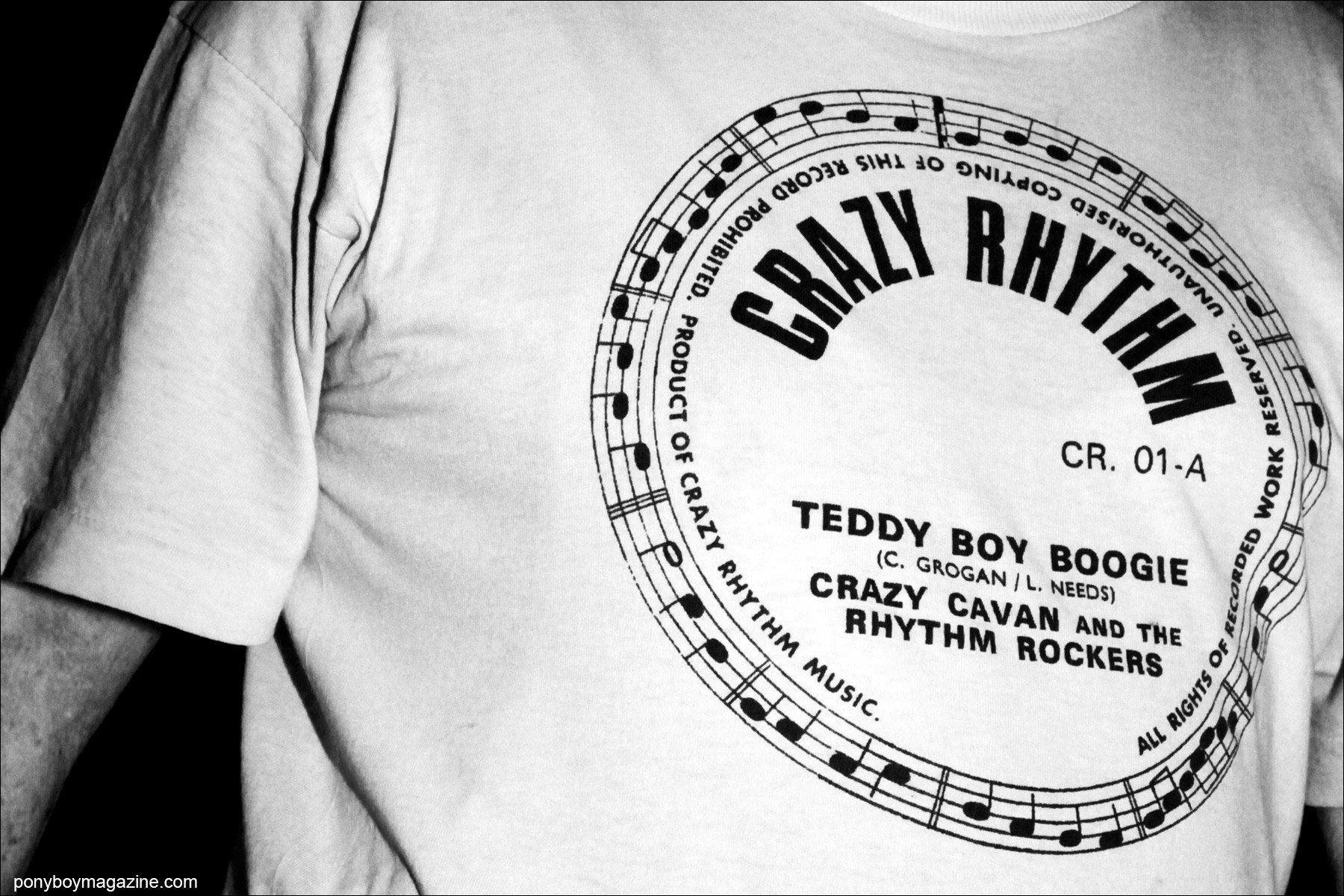 A fan's t-shirt of Crazy Cavan and The Rhythm Rockers, snapped at Tom Ingram's Viva Las Vegas by Alexander Thompson for Ponyboy Magazine.