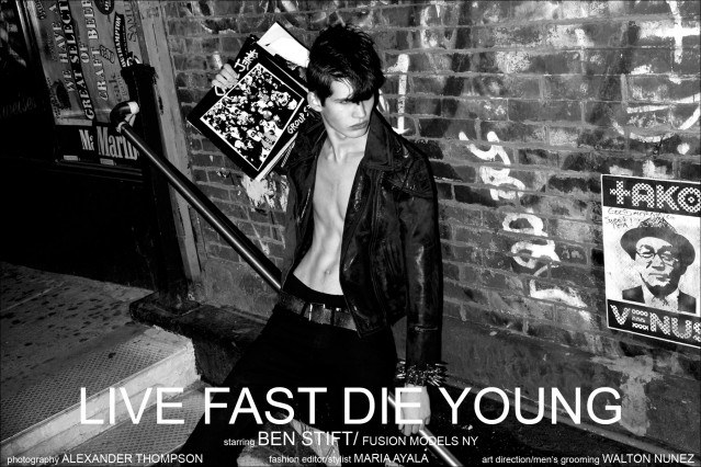 """""""Live Fast Die Young"""", a men's punk editorial for Ponyboy Magazine, starring Fusion male model Ben Stift. Photographed by Alexander Thompson in New York City."""