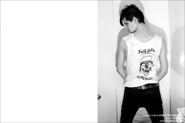 Model Ben Stift wears a Suicidal Tendencies t-shirt designed by Christian Benner. Photographed in New York City by Alexander Thompson for Ponyboy Magazine.