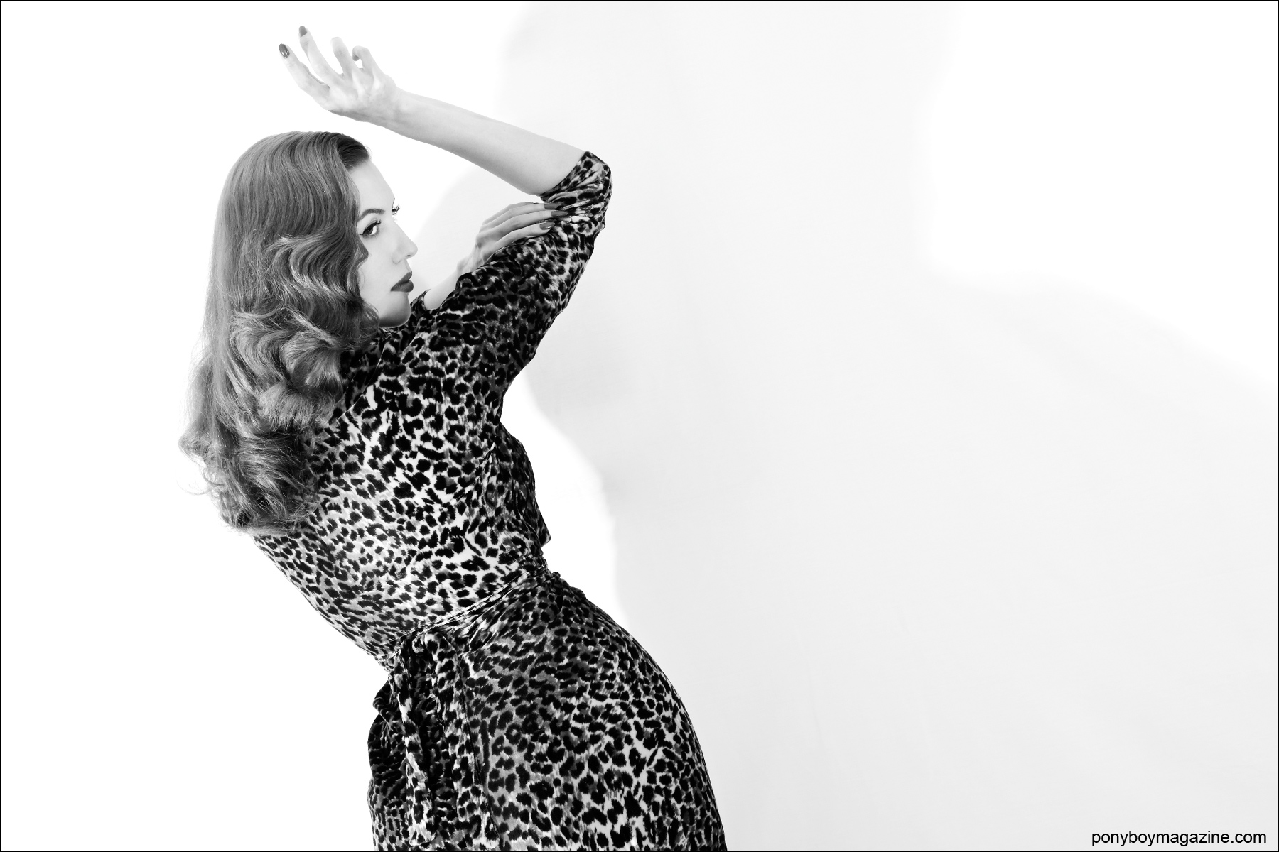 The lovely Lola Devlin photographed in 50's leopard for Ponyboy Magazine by Alexander Thompson.