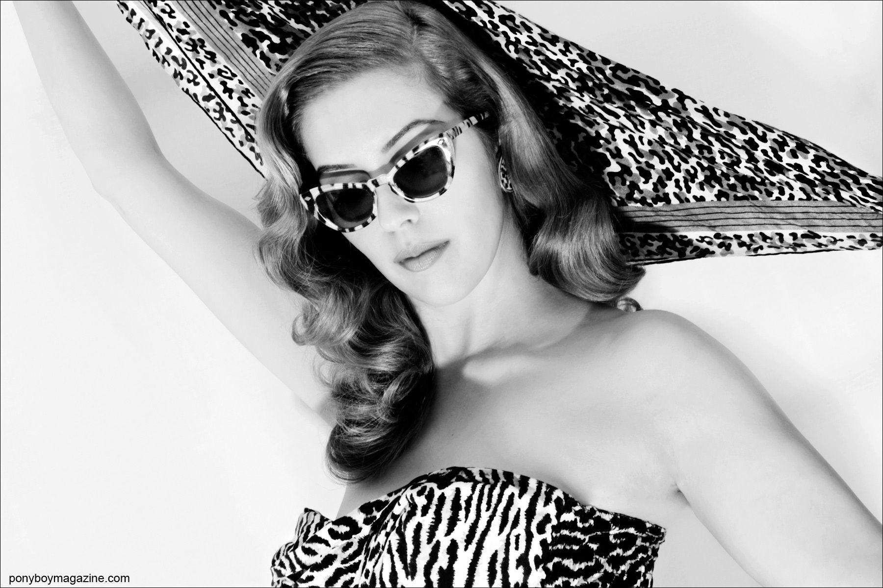 Lingerie designer Lola Devlin wears vintage leopard for Ponyboy Magazine, photographed by Alexander Thompson.