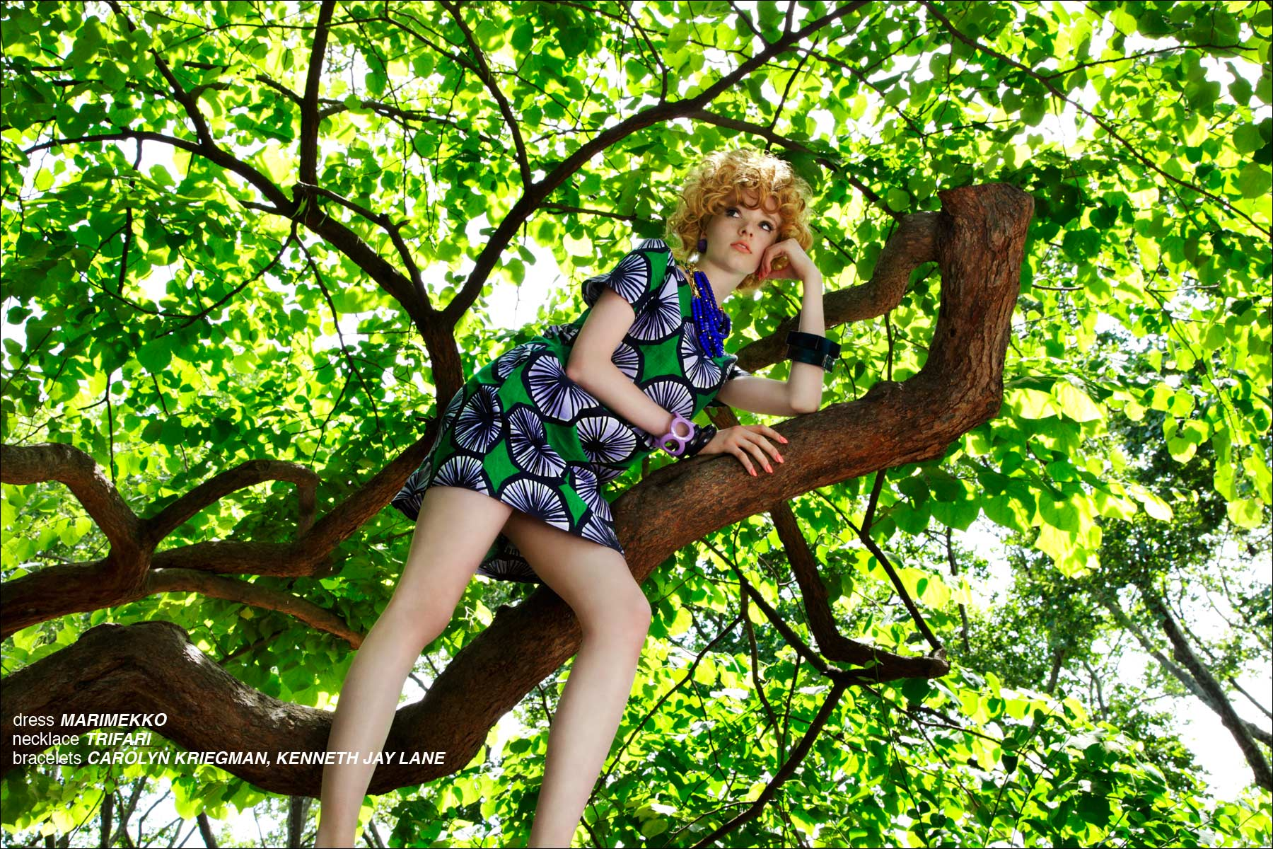 A model in a Marimekko dress, photographed by Alexander Thompson for Ponyboy Magazine in New York City.