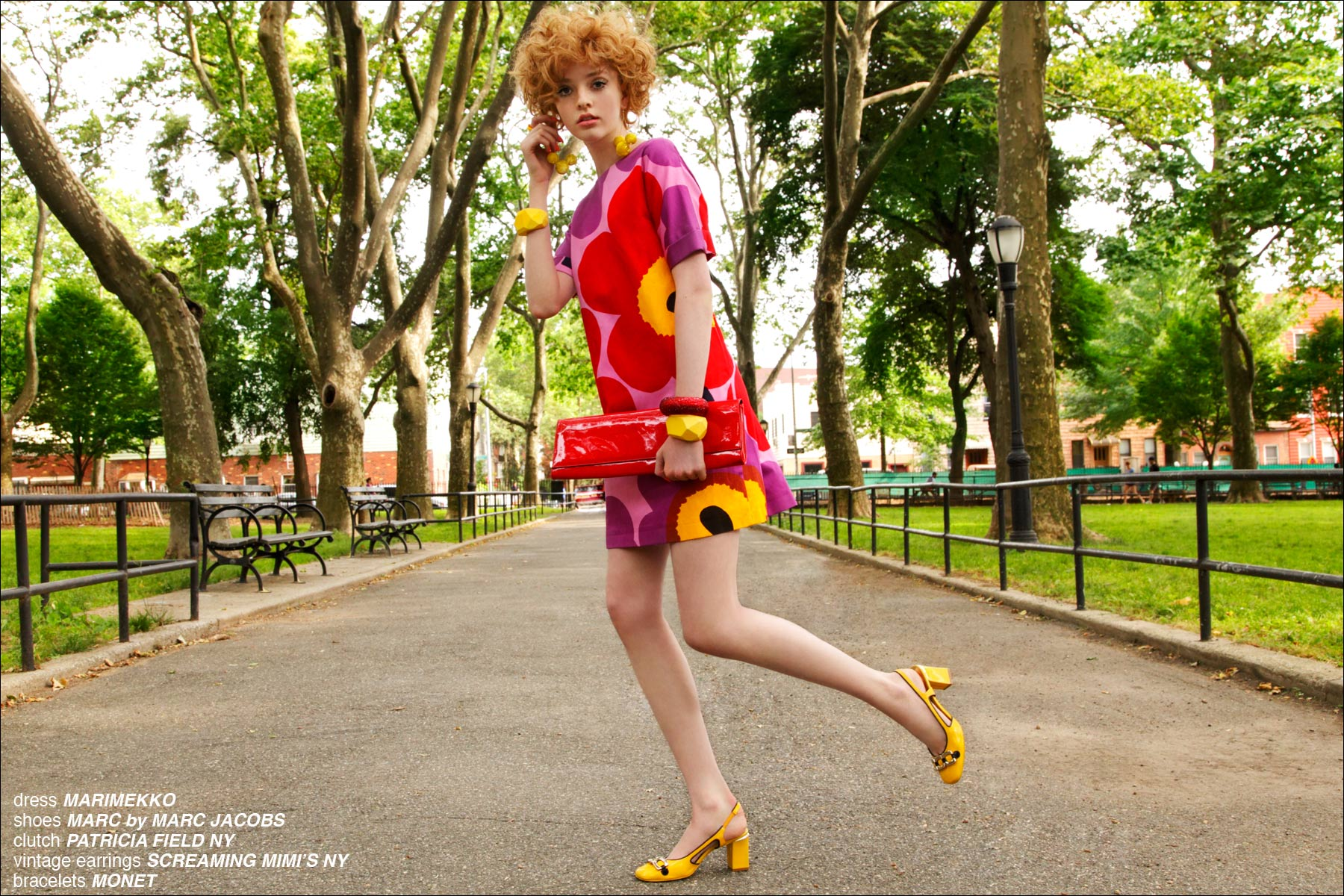 A Day in The Park, a Marimekko inspired women's editorial for Ponyboy Magazine in New York City, photographed by Alexander Thompson.