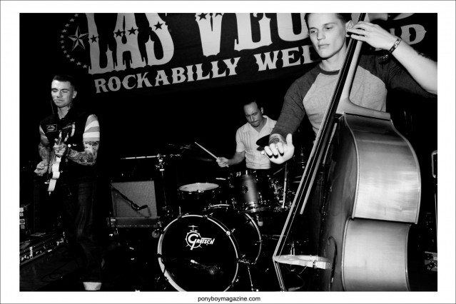 The Pat Capocci Combo, photographed onstage at Tom Ingram's Viva Las Vegas rockabilly weekender by Alexander Thompson for Ponyboy Magazine.