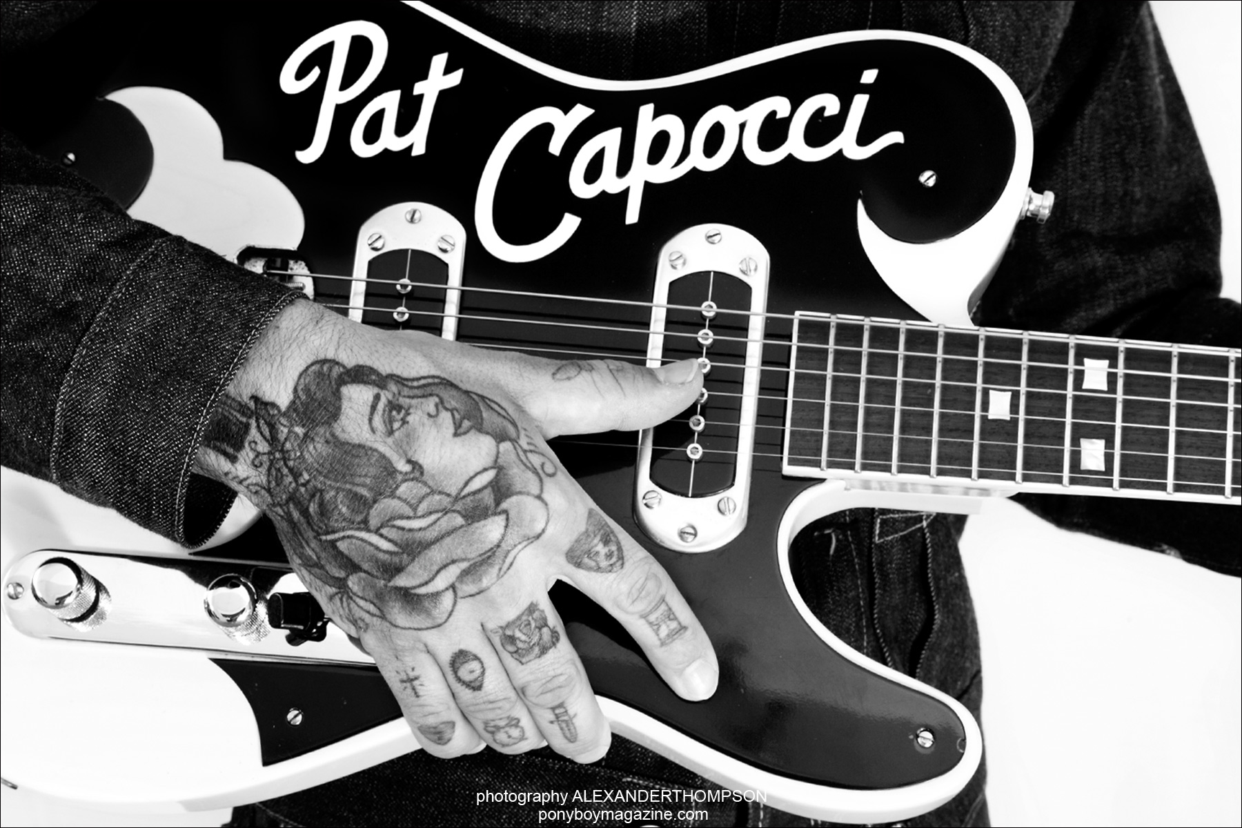 Australian rockabilly musician Pat Capocci, opening spread for Ponyboy Magazine. Photographed by Alexander Thompson.