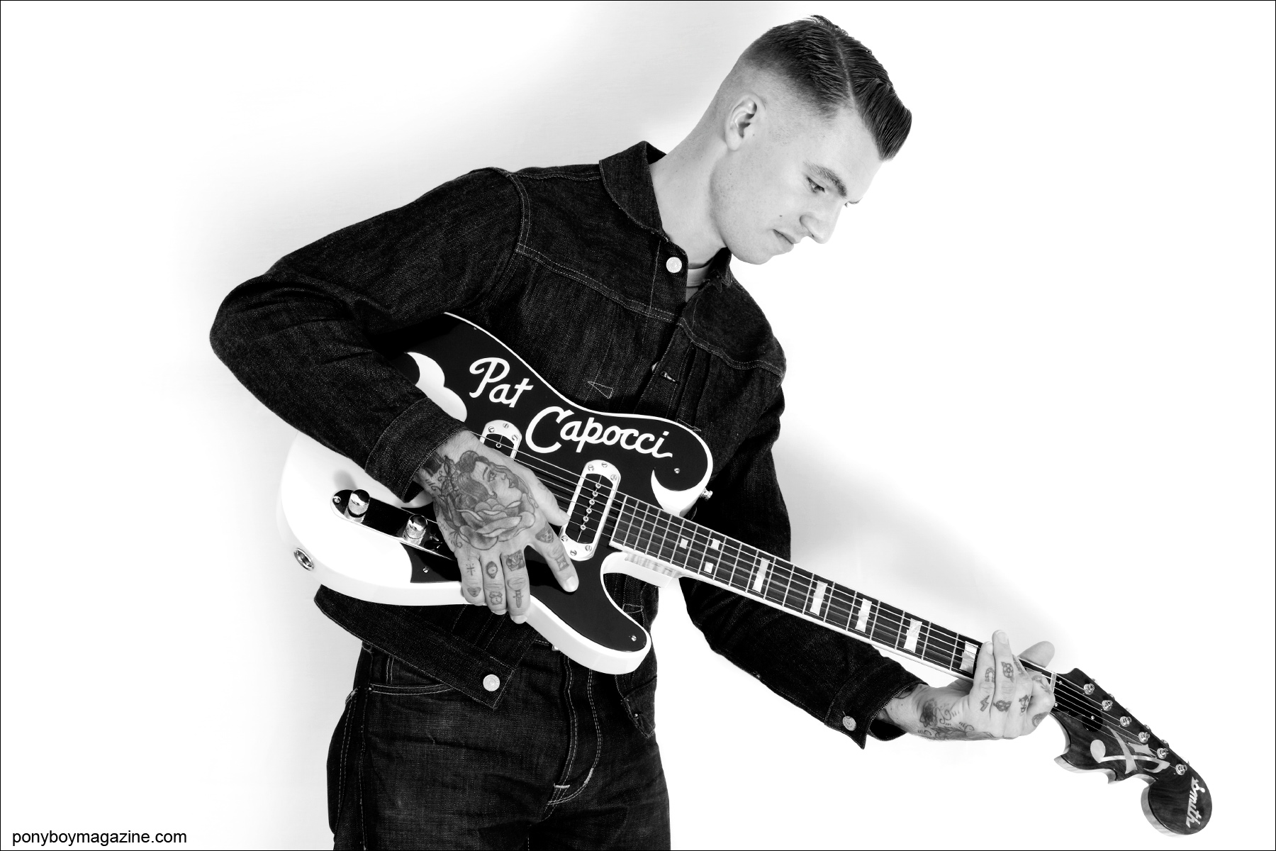 Australian rockabilly musician Pat Capocci photographed for Ponyboy Magazine by Alexander Thompson in Las Vegas.