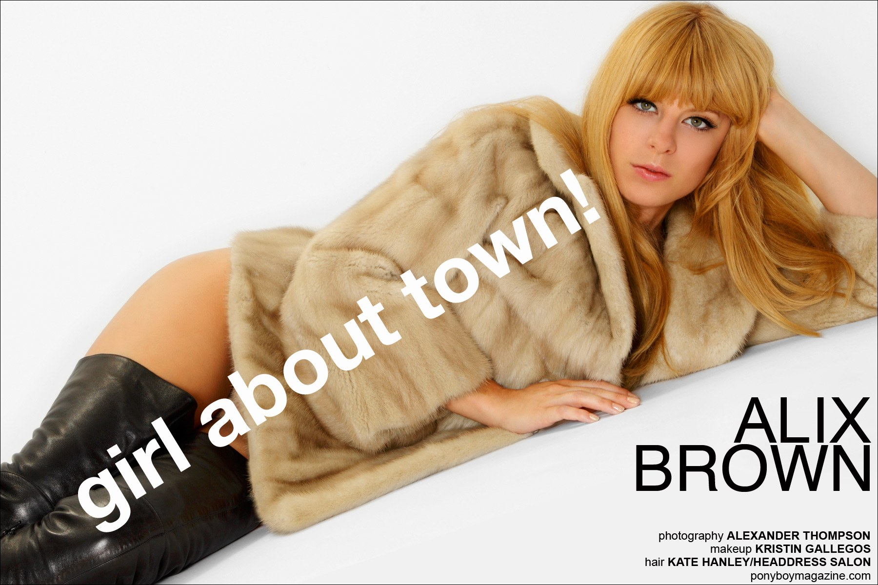"""Girl About Town!"", opening spread of Alix Brown feature for Ponyboy Magazine in New York City. Photographed by Alexander Thompson."