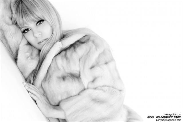 Alix Brown photographed in a vintage fur by Revillon Boutique Paris, by Alexander Thompson for Ponyboy Magazine.