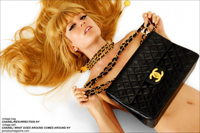 Alix Brown holds an oversized vintage Chanel purse and belt. Photographed by Alexander Thompson for Ponyboy Magazine.