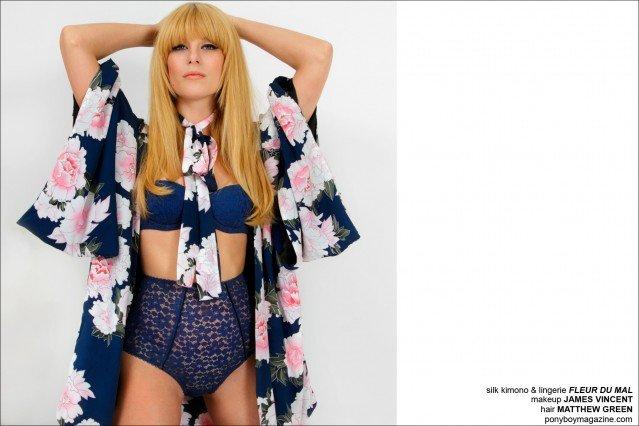 Alix Brown wears Fluer Du Mal lingerie for Ponyboy Magazine, photographed by Alexander Thompson.