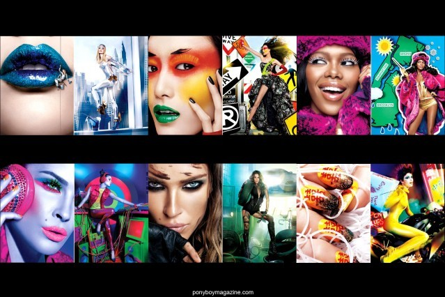 Maybelline ads with clothing created by New York City designer David Dalrymple. Ponyboy Magazine.