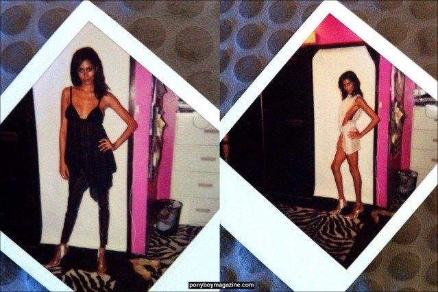 Polaroids of a model in David Dalrymple designs. Ponyboy Magazine.