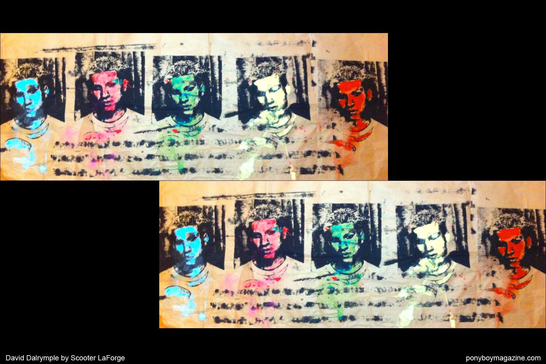A collage of David Dalrymple by artist Scooter Laforge. Ponyboy Magazine.