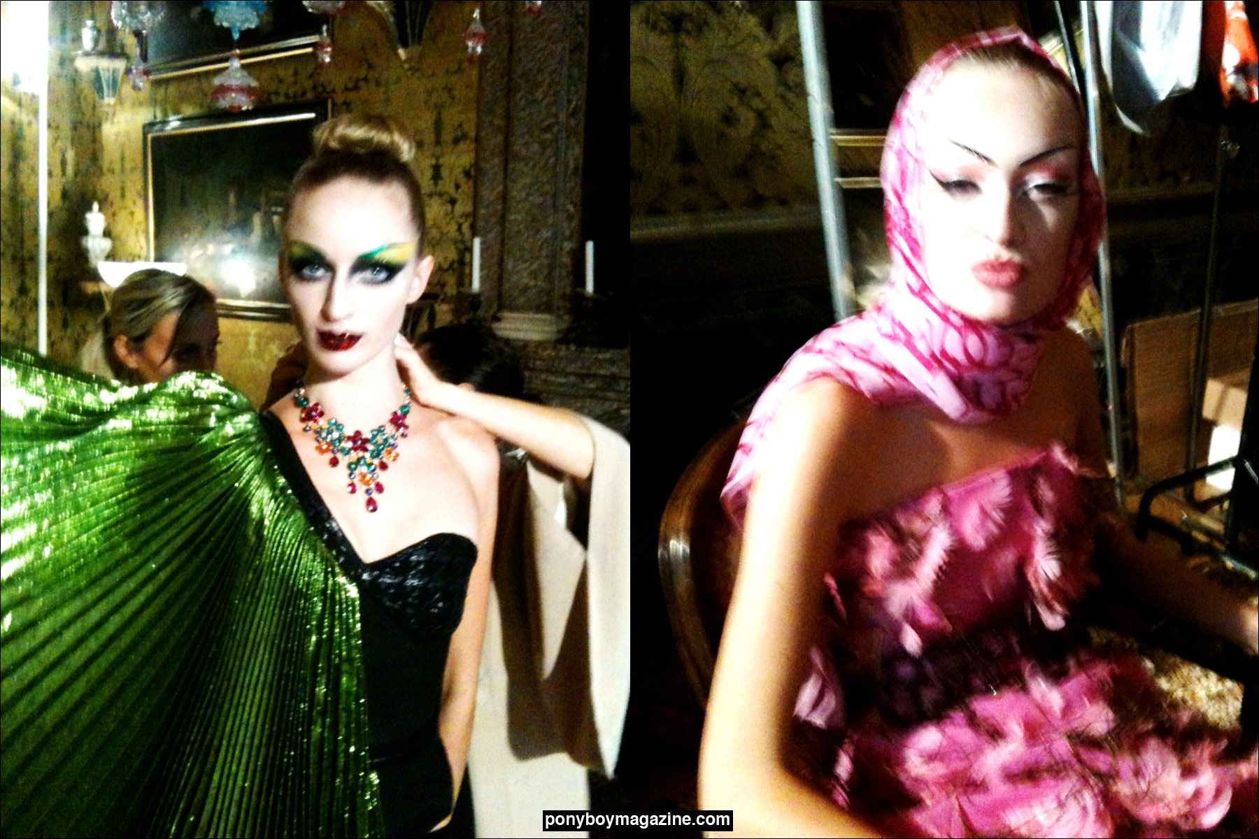 Models backstage in Vienna, wearing David Dalrymple designs. Ponyboy Magazine.