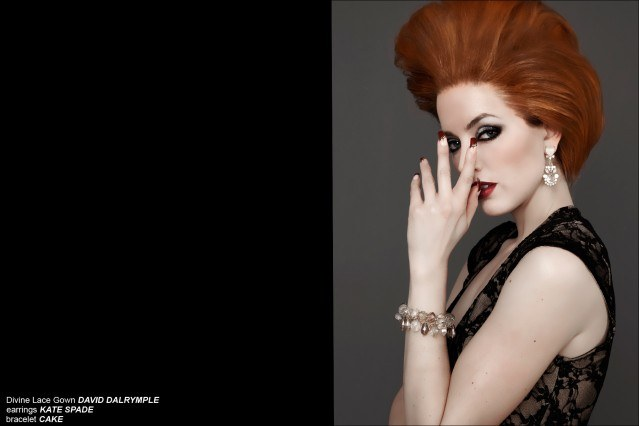 Red headed model photographed by Aaron Cobbett in a design by David Dalrymple. Ponyboy Magazine.