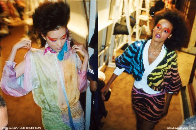 Models photographed backstage by Alexander Thompson at the David Dalrymple for Field fashion show in New York City. Ponyboy Magazine.