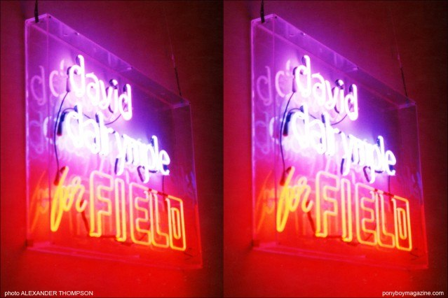 Neon sign at The David Dalrymple for Field fashion show in New York City. Photo by Alexander Thompson. Ponyboy Magazine.